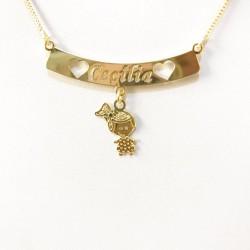 Detalhes do produto Colar Personalizado Plaquinha com Nome e pingente folheado a ouro 18k